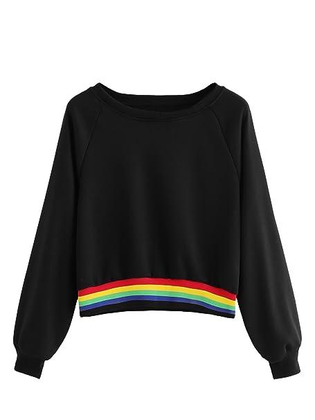be6921cf69 Amazon.com: SheIn Women's Raglan Sleeve Striped Rainbow Colorblock Crewneck  Crop Top Sweatshirt Black X-Large: Clothing