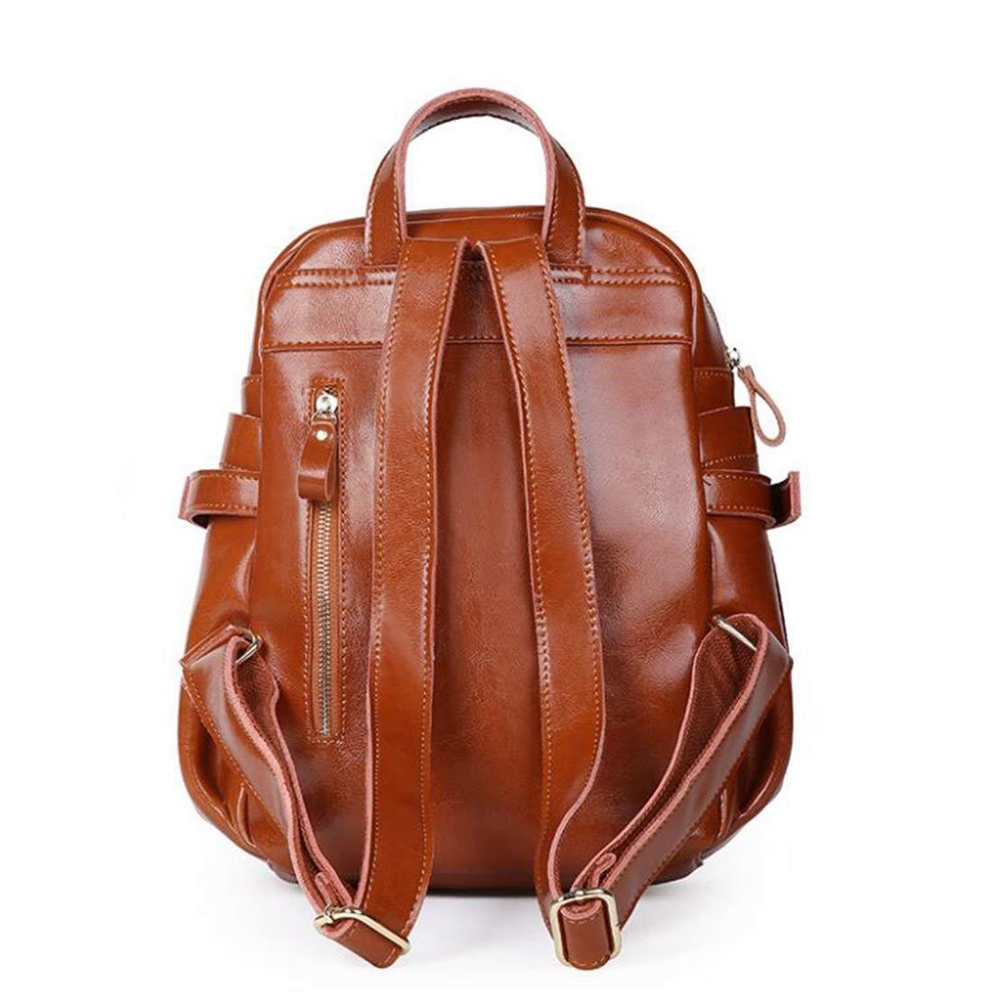 Ryggsäck dam PU-läder mini ryggsäck flickor högskola skolväska resväska stor ryggsäck (färg: svart) Brun1