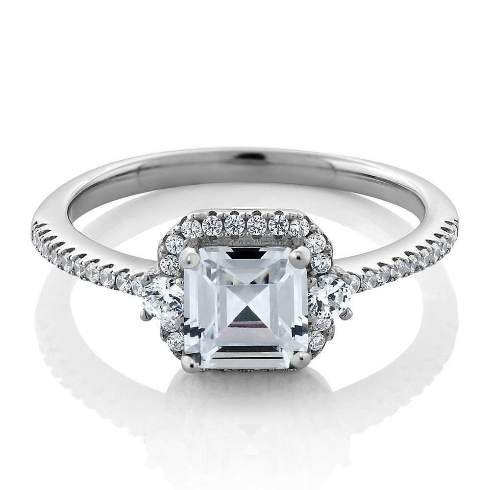 Women's Vintage 925 Sterling Silver Princess Cut 1.00 Cttw White Cubic Zirconia CZ Engagement Ring