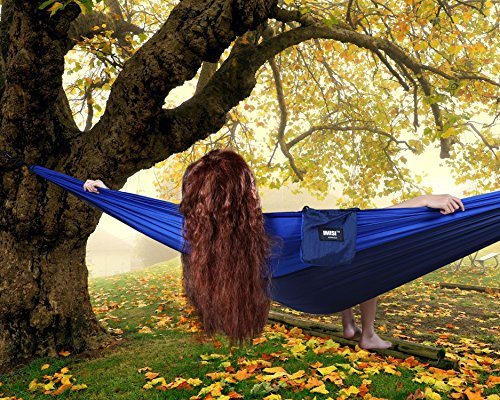 Camping Double Hammock IMISI™ [Adventure Seires] Parachute Nylon Hammock Military Grade Ultralight Portable Comfort Hammock with Durable Straps for Adventure ,Hiking,Camping, Backyard (Blue)