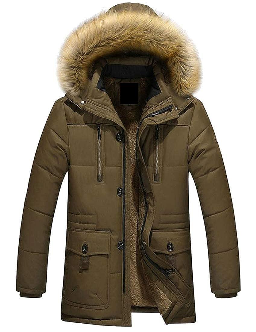 Lutratocro Men Outside Parkas Fall Winter Fleece Faux Fur Hooded Mid Length Down Jacket