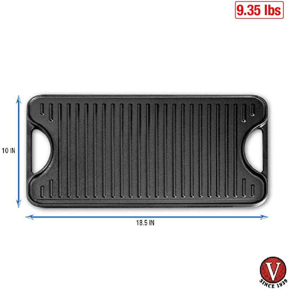 Victoria GDL-194 Rectangular Cast Iron Double Burner Reversible Griddle Grill Seasoned with 100/% Kosher Certified Non-GMO Flaxseed Oil Black 18.5 x 10 Inch