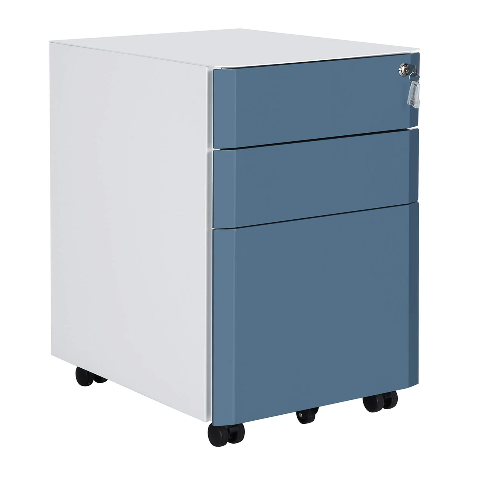 SONGMICS Mobile File Cabinet, Lockable, Metal Filing Pedestal with 3 Drawers, for Document, Stationery, Hanging Folder, White and Slate Blue UOFC70WB by SONGMICS