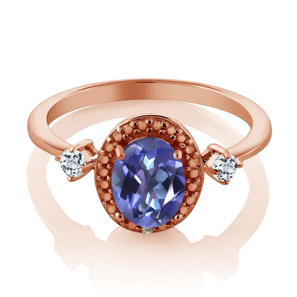Gem Stone King 1.47 Ct Blue Mystic Topaz White Topaz 18K Rose Gold Plated Silver Ring With Accent Diamond