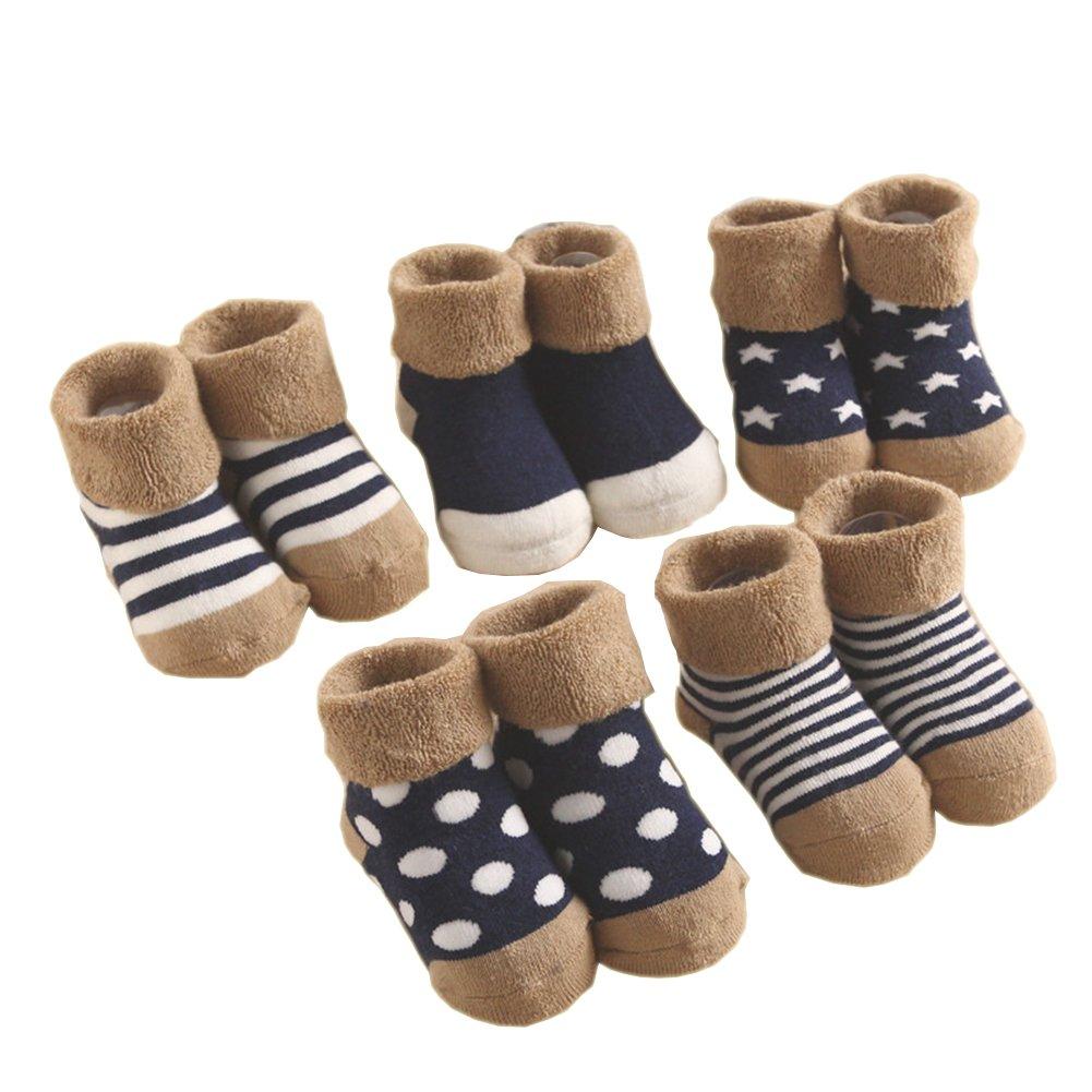 Estwell 5 Paires B/éb/é Chaussettes 1-3 ans Baby Fille Gar/çon Hiver Chaud Souple Coton Chaussettes