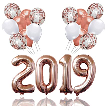 Palksky 2019 Rose Gold Confetti Balloons Kit Large 40 Inch 2019 Balloons And 12 Inch Latex Balloons For Wedding Graduations Birthday Party Supplies