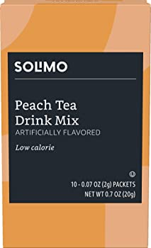 Amazon Brand Solimo Peach Tea Drink Mix Singles (10 Packets)
