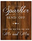 2 City Geese Sparkler Send Off Sign for Wedding | Rustic Wood Look On Linen Textured Thick Cardstock Paper | Sparkler Exit Signs For Reception