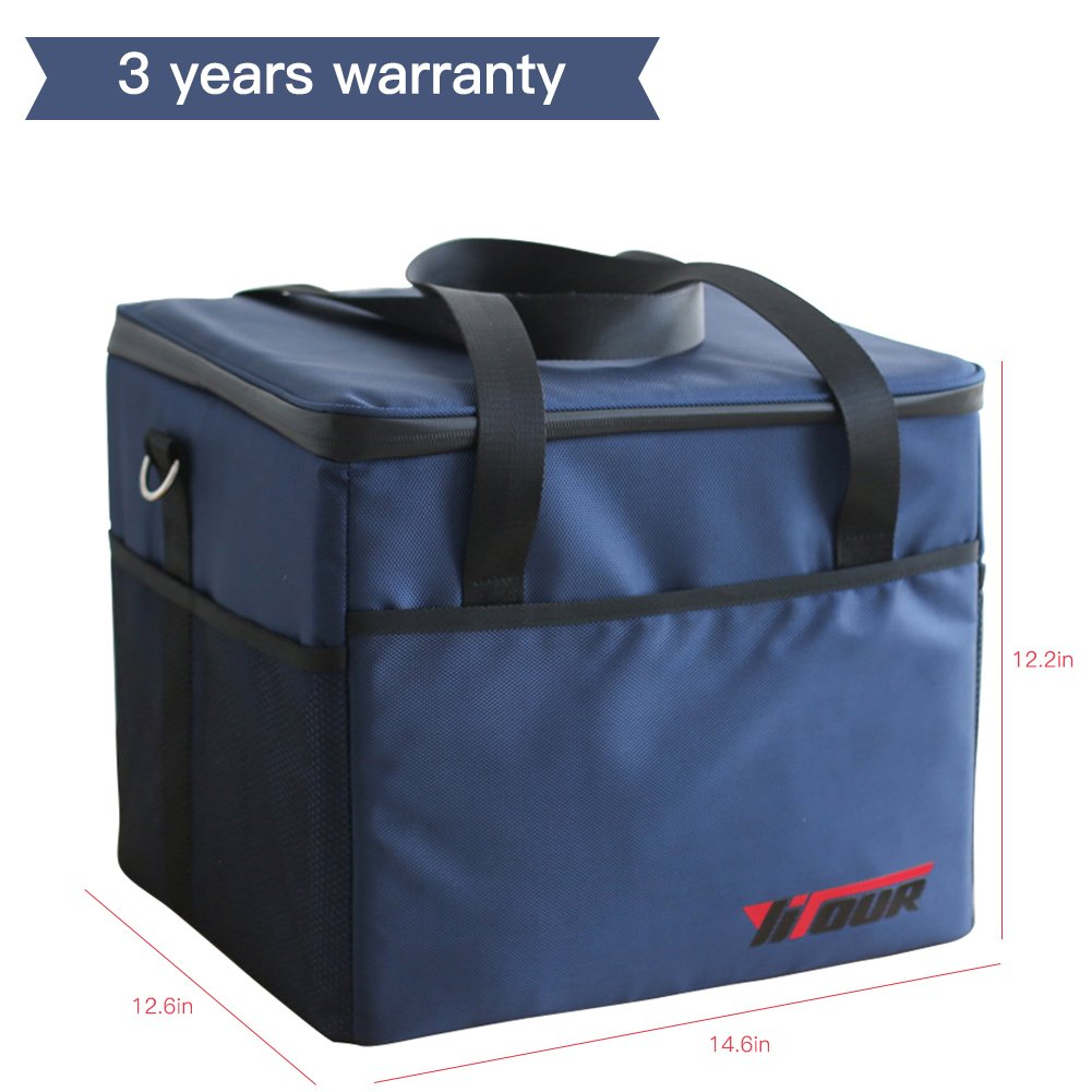 Fee-lice Waterproof Picnic Travel Lunch Bag Tote Large Capacity for Recycled Insulated Cooler Bag Lunchbox with Adjustable Shoulder Strap (10L, Blue)