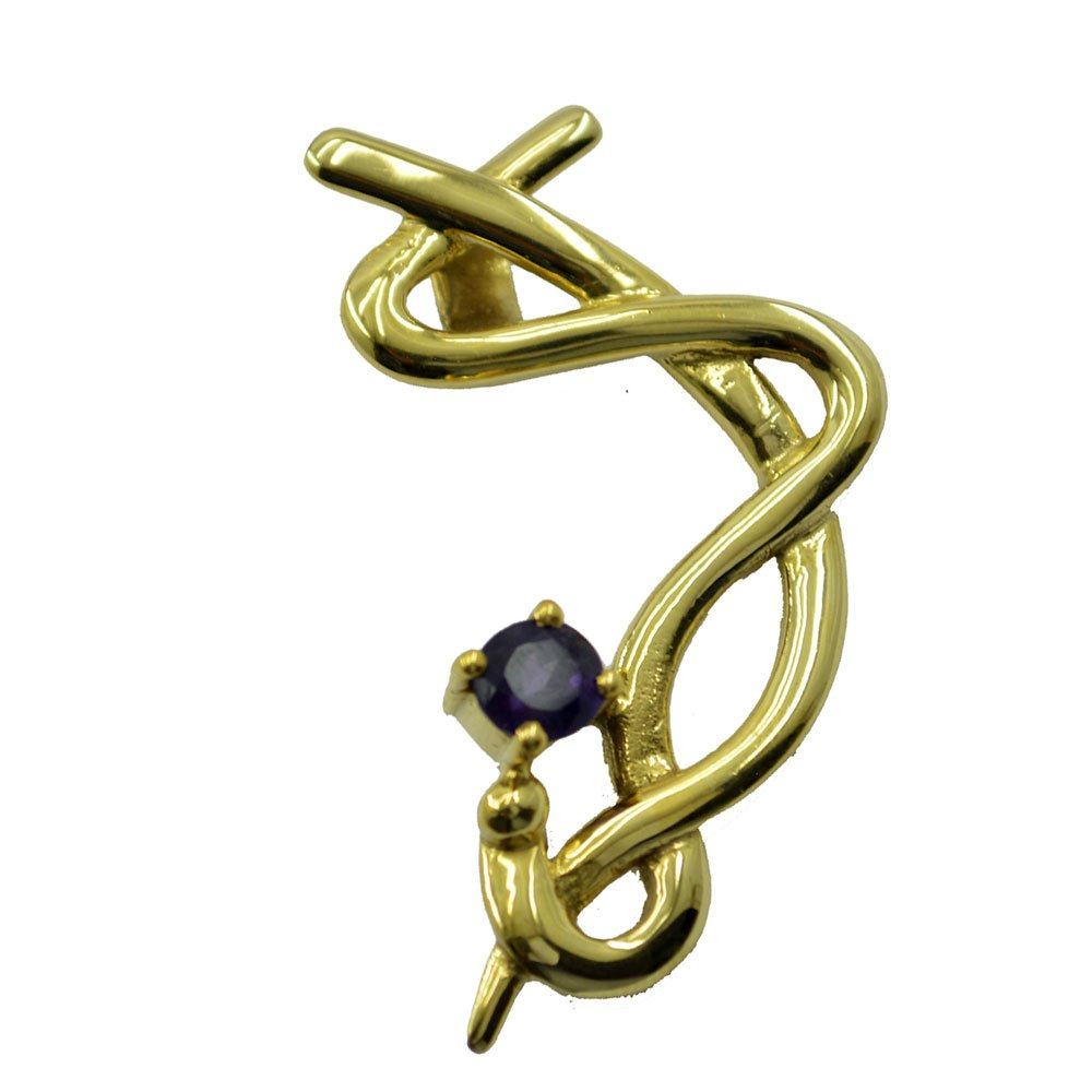 Gold Plated Amethyst CZ February Birthstone Pendant For Women Handmade Chaems Round Shape Design Necklace