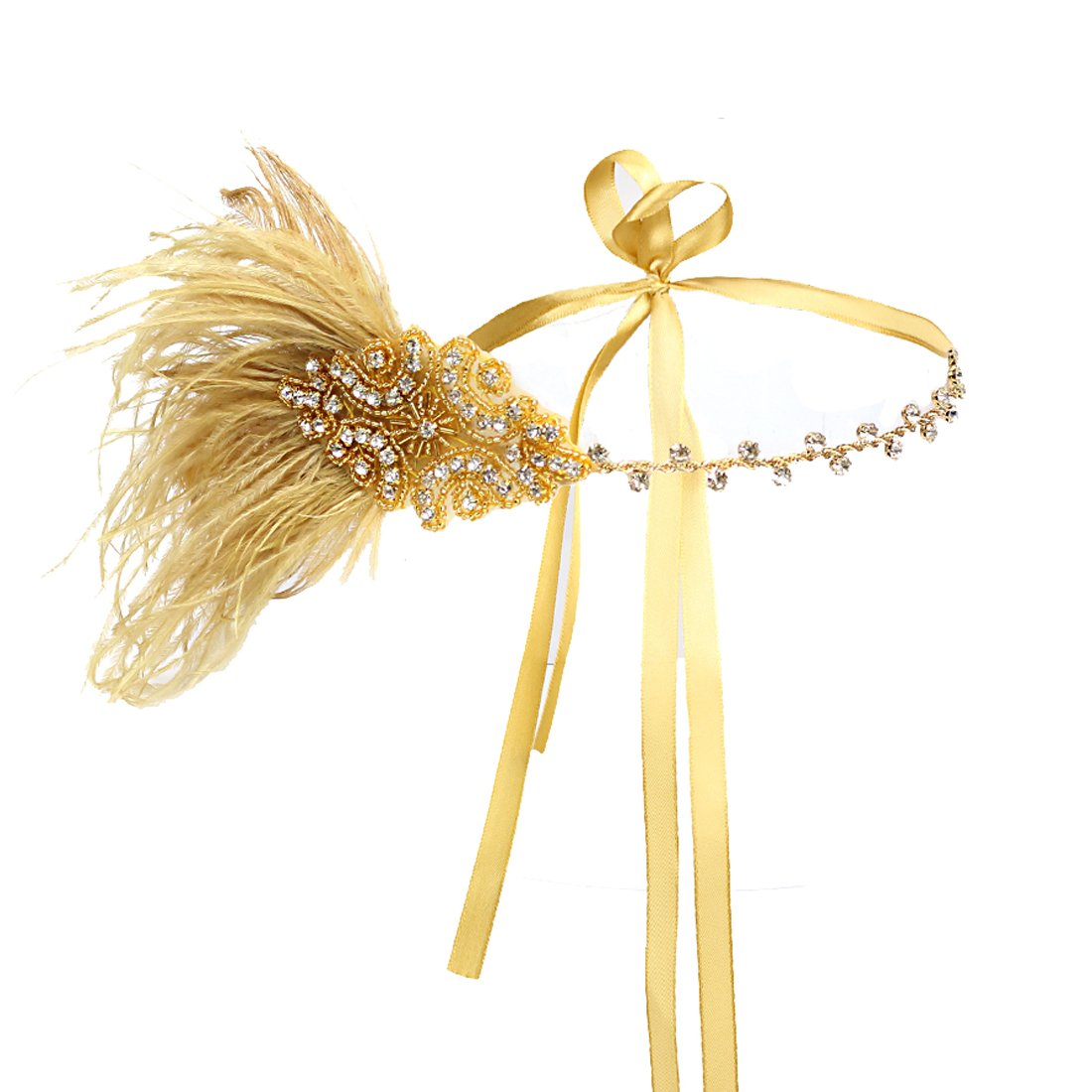 JaosWish Vintage oro aleta diadema 1920 Art Deco brillante diadema Gatsby pluma tocado