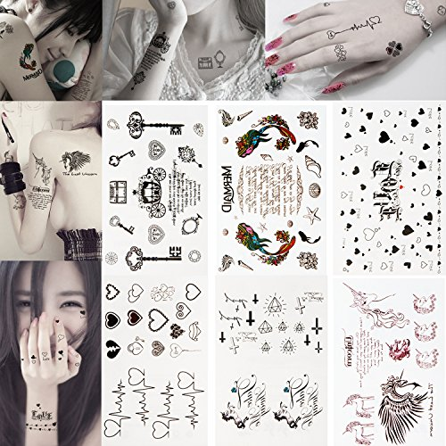 [Set Kit Lot of 6 Sheets With Fashion Temporary Fake Tattoos Removable Waterproof Body Art Stickers Printed Images Water Transfers Prints In Various Designs for Arms, Necks, Hands, Backs, Legs,] (Pictures Of Punk Rocker Costumes)