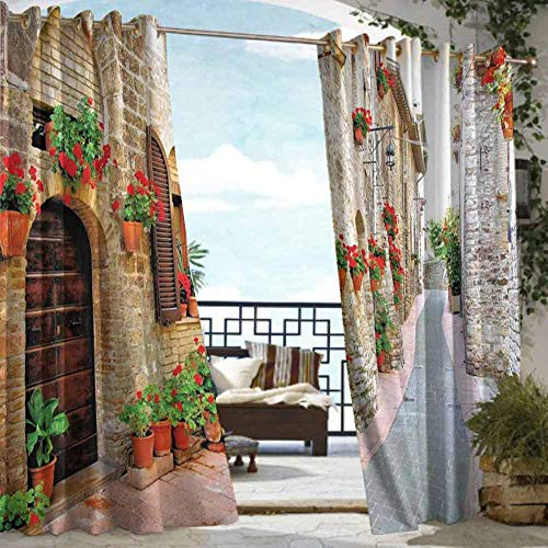 VIVIDX Sliding Door Curtain,Tuscan,for Porch&Beach&Patio,W108x84L Brown Red and Tan