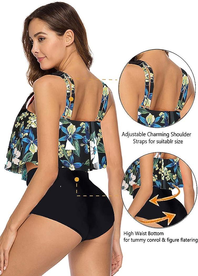 Aidotop Frauen Badeanzug Badebekleidungs Oberseiten gekr/äuselte Badeanzug Bikini S/ätze mit hoher Taille