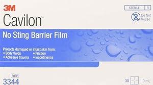 Cavilon No Sting Barrier Film, Wipe, No Alcohol, Sterile, Box of 25
