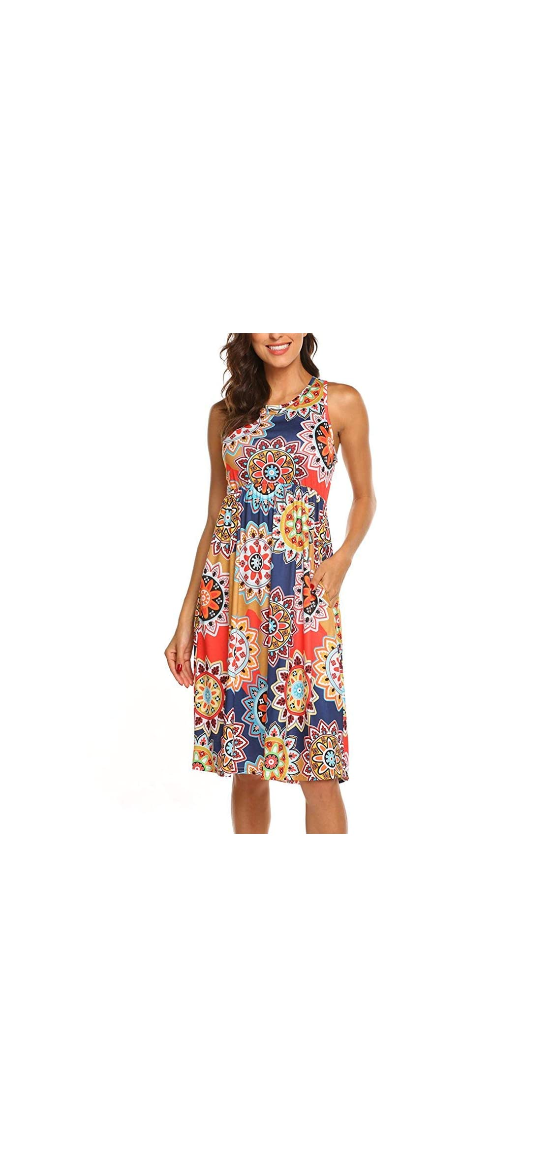 Womens Summer Sleeveless Floral Print Racerback Midi With