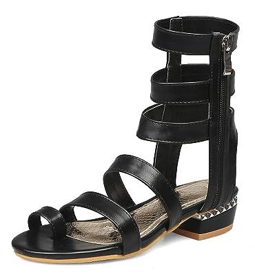 5db1fa04d71 Amazon.com   Aisun Women's Stylish Strappy Toe Ring Chunky Low Heel ...