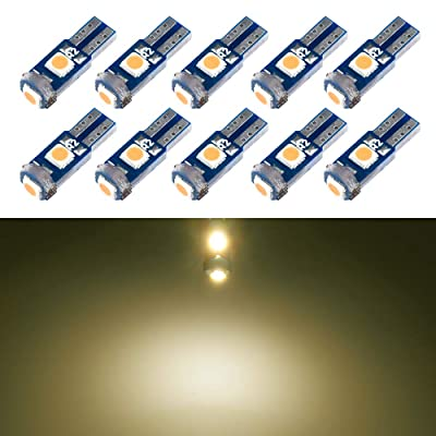 T5 LED Bulb Dashboard Dash Lights Warm White 3030 SMD Wedge Base for Car Truck Instrument Indicator Air Conditioning AC Lamp Auto Interior Accessories Kit Bright 12V 1W 1 Year Warranty 10Pcs【1797】: Automotive