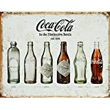 Memorabilia Tin Sign featuring Evolution of the Glass Coca Cola Bottle 42x30cm