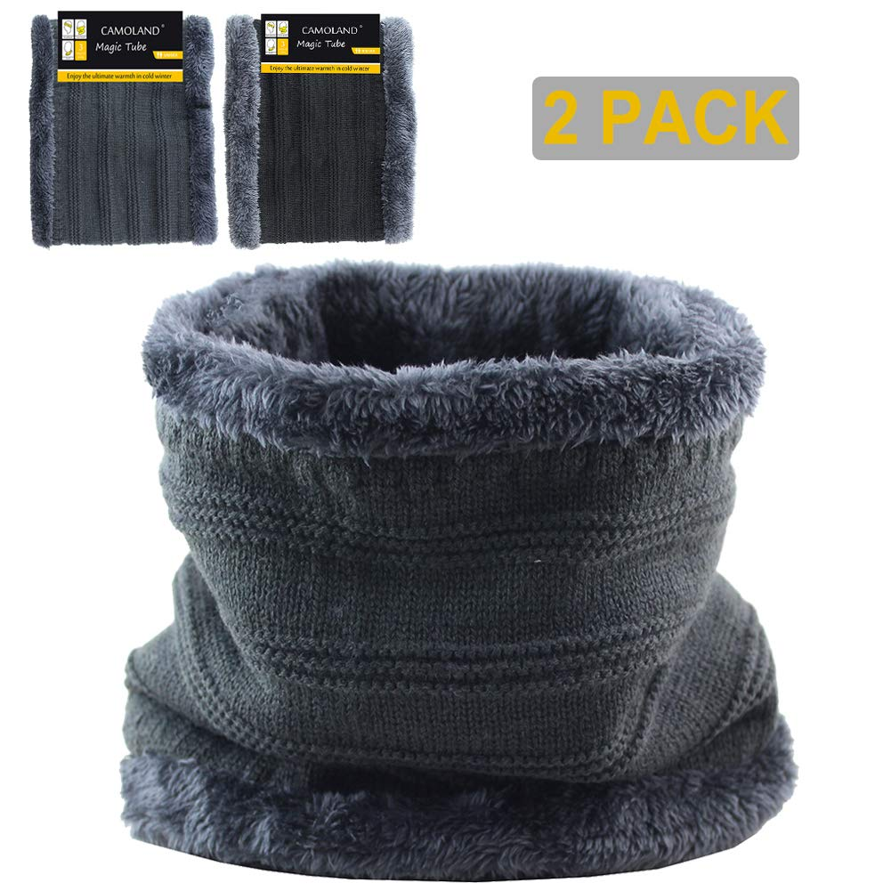 Winter Scarf Double-Layer Soft Fleece Lined Thick Knit Neck Warmer Circle Scarf Windproof CAMOLAND ENG015-BK