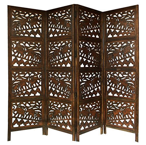 - Jumbo Walk - Antique Brown 4 Panel Handcrafted Wood Room Divider Screen 72x80 - Intricately Carved on Both Sides - Fully reversible - Highly Versatile Hides Clutter, Adds Décor, and Divides the Room