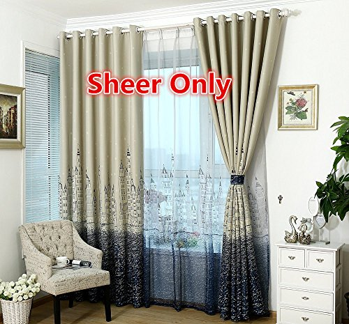 WPKIRA Home Decor Translucent Little Stars and Castle Print Pattern Tulle Window Sheer Curtains Panels Drapes Room Divider For Kids Bedroom , Rod Pocket Top, 1 Panel , W54 x L84 inch