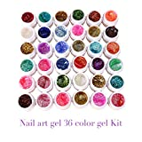 UV Builder Gel , 12/24/36 Mix Colors Solid Pure Manicure Builder Gel Set for Nail Art Tips Extension Manicure DIY Tools Decorations (36, Glitter)