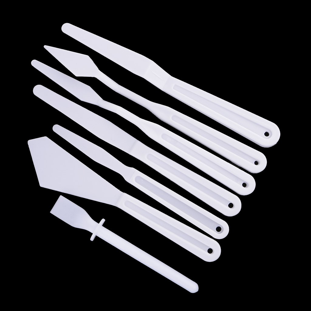 MagiDeal 7 Pieces/Set Plastic Palette Cutters Crafts for Art Oil Painting Supplies Tools