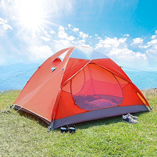 Nylon 3 Person Backpacking Tent (WolfWise 3-Person Backpacking Tent Camping Family tent Water Resistant with Carry Bag)