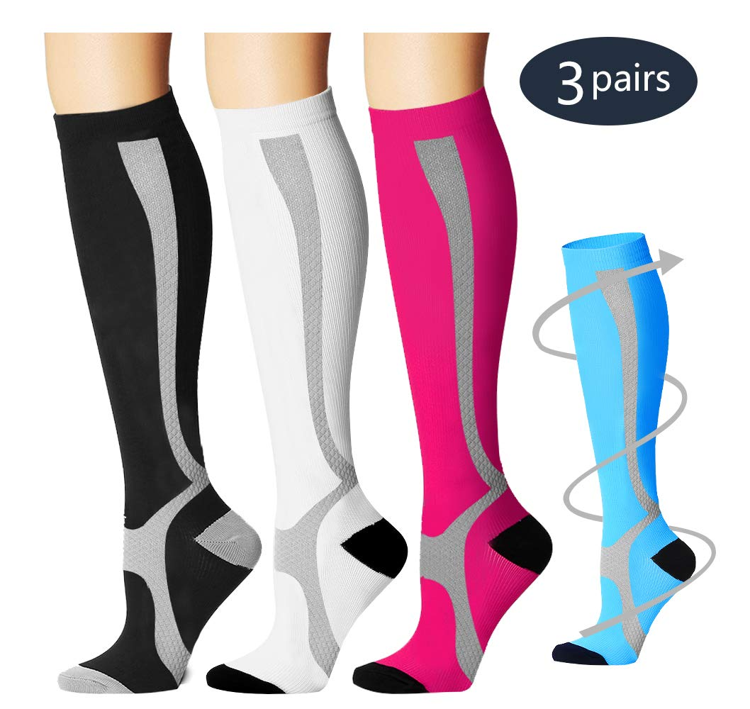Laite Hebe Compression Socks,(3 Pairs) Compression Sock Women & Men - Best Running, Athletic Sports, Crossfit, Flight Travel(Multti-colors12-L/XL)