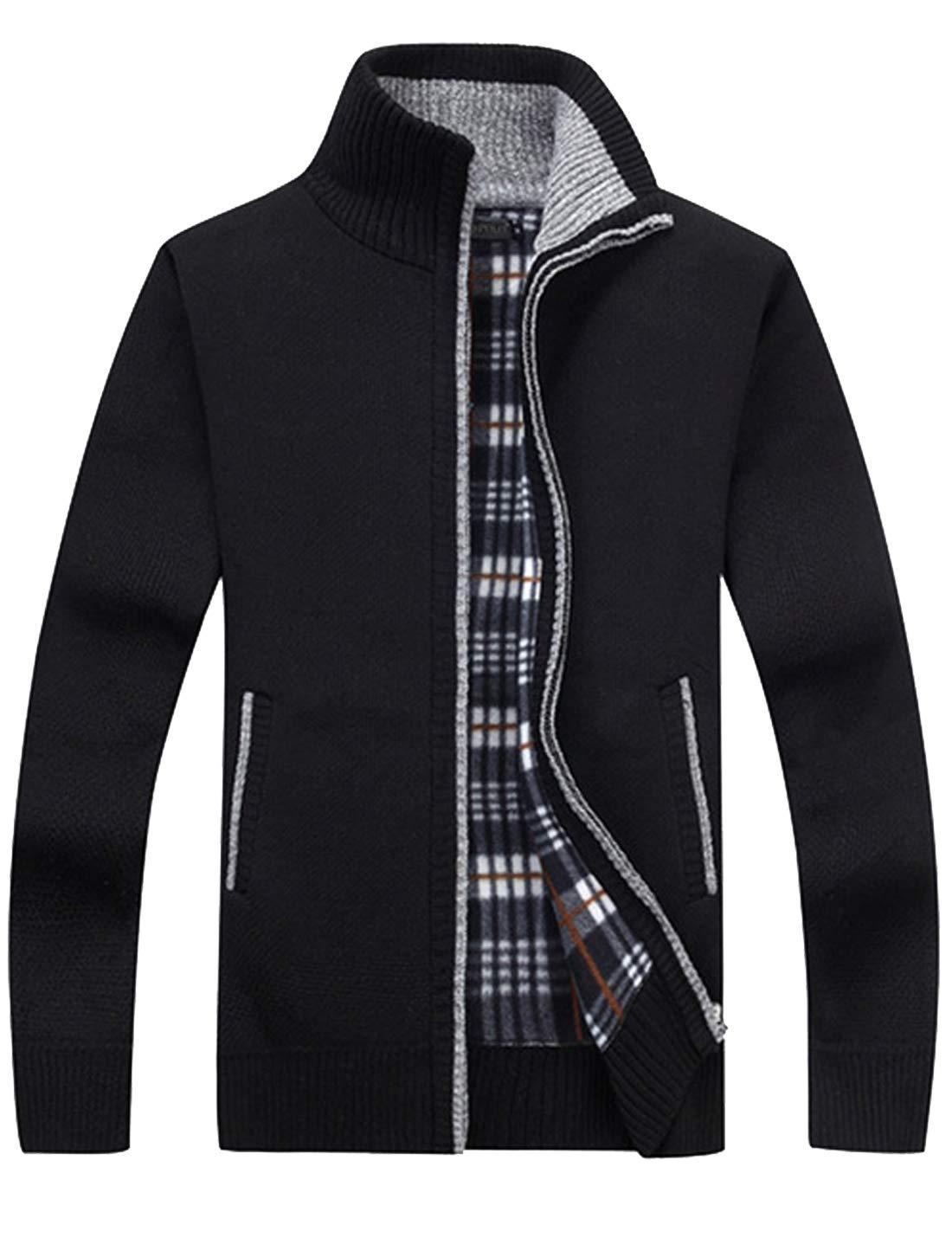 Liengoron Men's Classic Cardigan Motorcycle Sherpa Lined Denim Trucker Jacket Outwear (Black, Large) by Liengoron