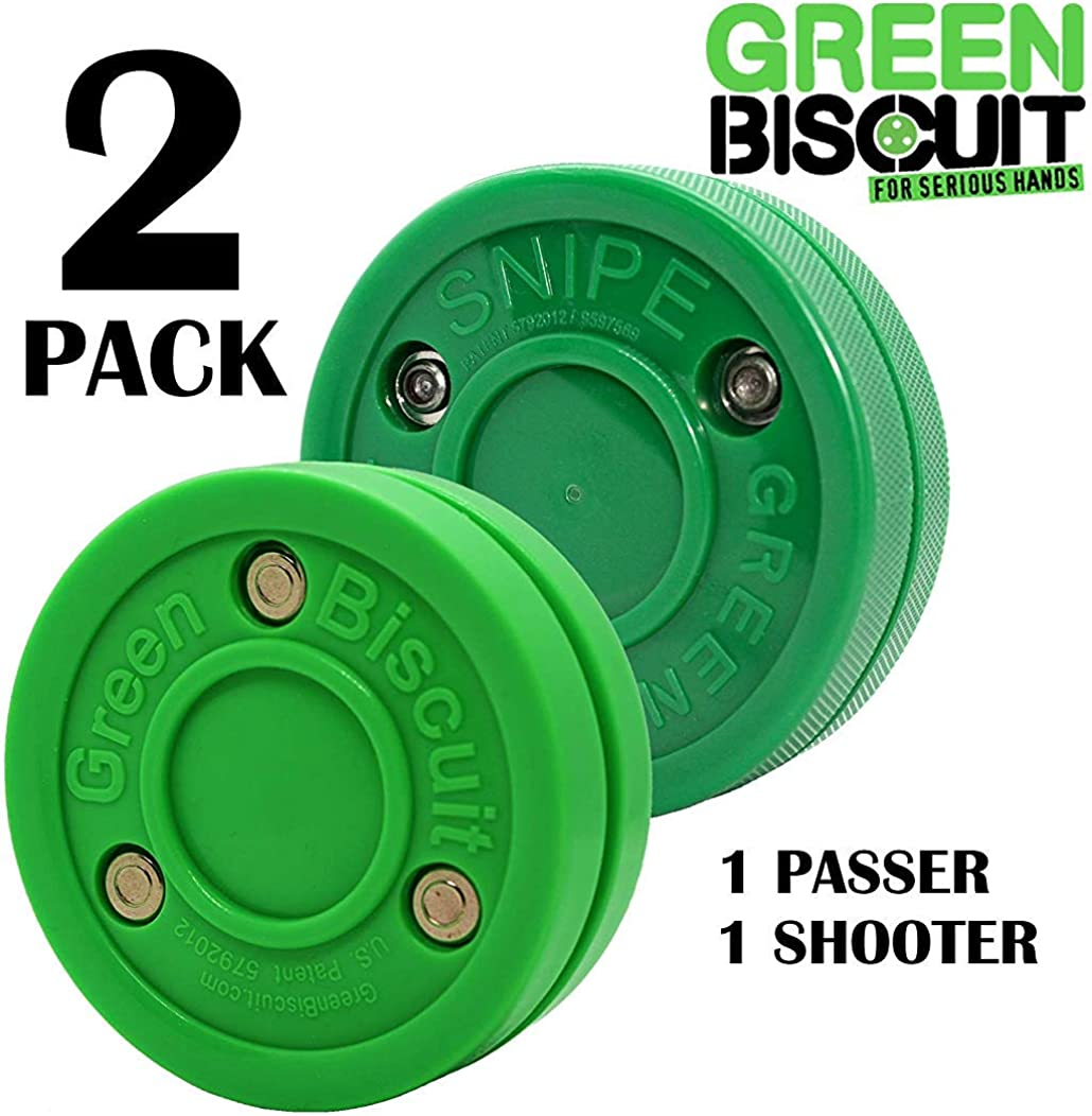 Green Biscuit 2 Pack| 1 Passer and 1 Shooter | Off-Ice Shooting, Stickhandling and Passing Pucks | The are Great for Street Hockey