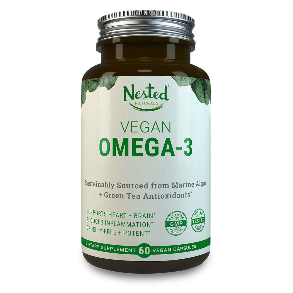 VEGAN OMEGA 3 – Better than Fish Oil | 60 Capsules of Algal DHA and EPA | Plant Based Brain Supplement, Cardiovascular Health Booster and Quality Prenatal Omega-3 | Vegetarian Fatty Acids Supplements