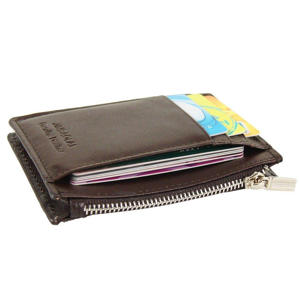 Genuine Leather Slim Front Pocket Credit Card Holder Case 8 Slots Wallet (Brown) Gubintu Co.Ltd