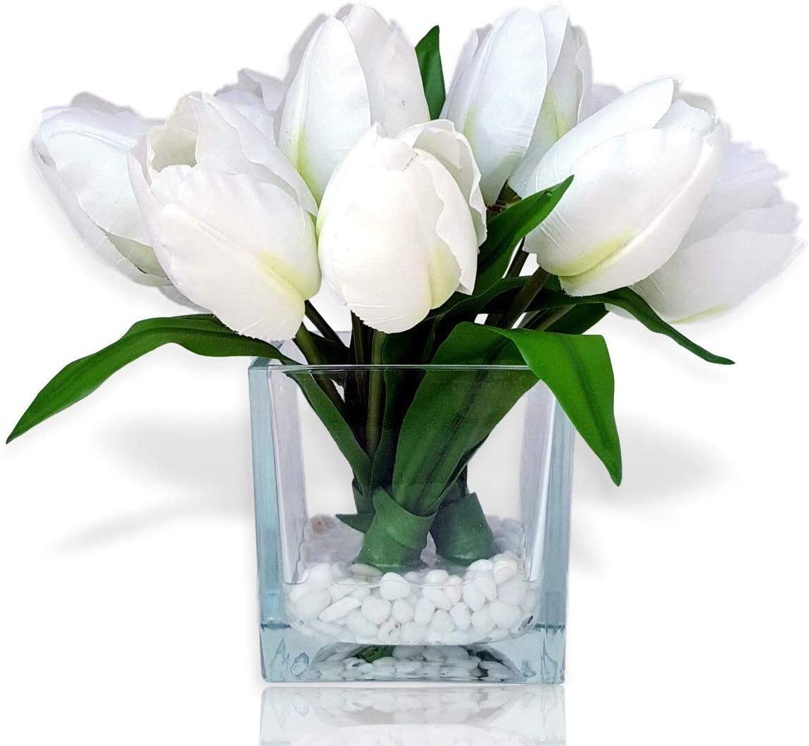 Basik Nature Artificial Flowers Tulip Floral Arrangement in Vase - Tulips Artificial Silk Flowers for Decoration (White)