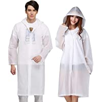 "Exptolii Rain Poncho for Adults, 2 Pack Reusable Raincoat Emergency Rain Gear with Hoods and Sleeves 47.2"" x 27.2"""