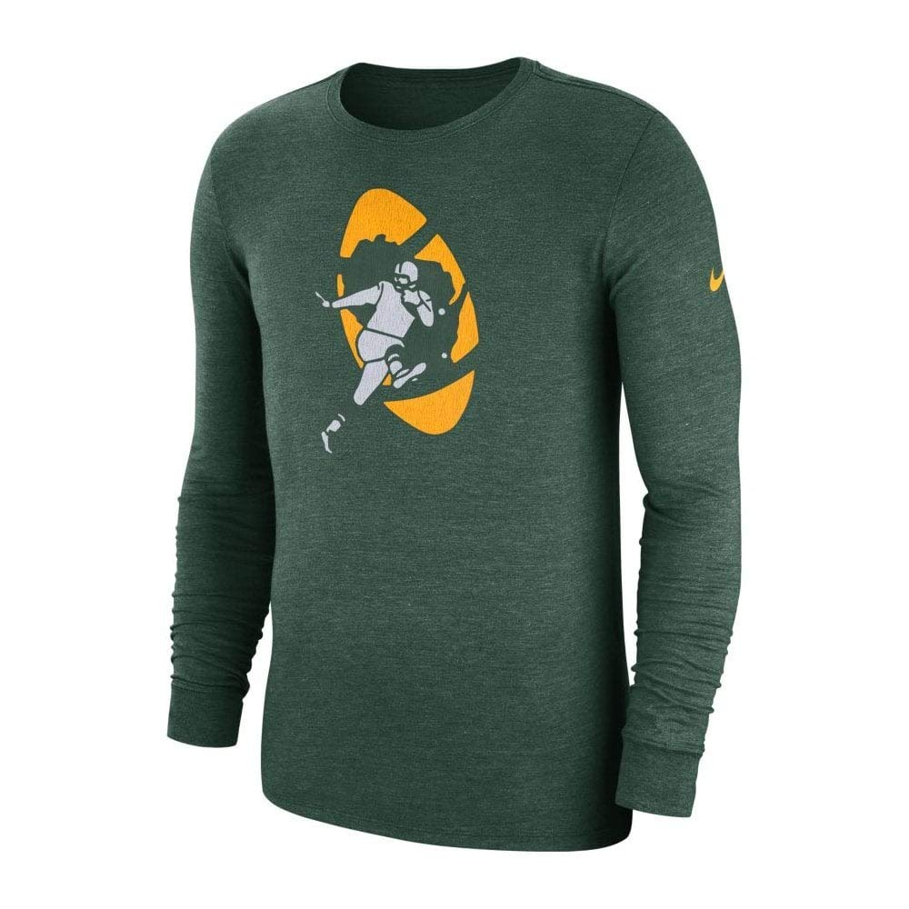 Nike NFL Green Bay Packers Crackle Historic Tri-Blend Long Sleeve T-Shirt