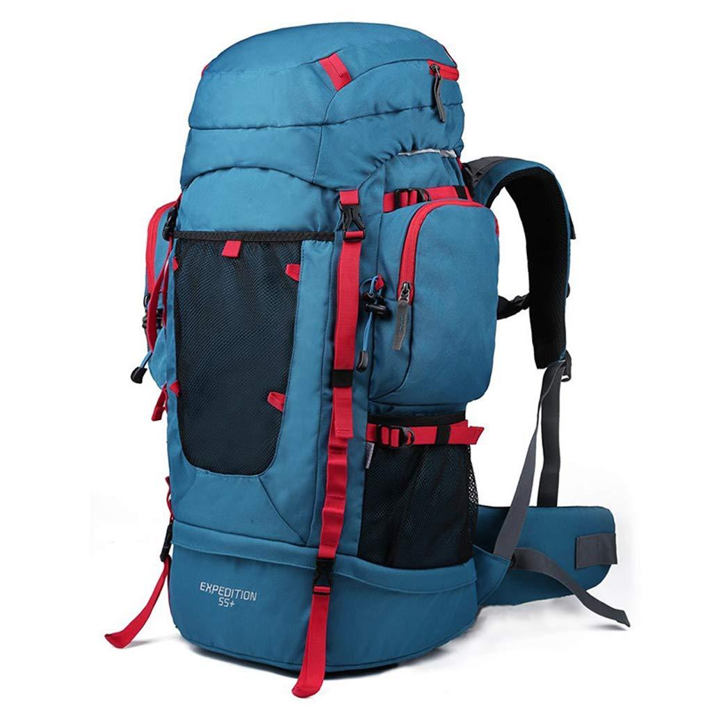 アウトドアバックパック登山バッグエルゴノミクスバッグ超軽量大容量ハイキングスポーツ多機能バックパックの男性と女性55 + 10L - レインカバー付き B07MX3PRMS blue
