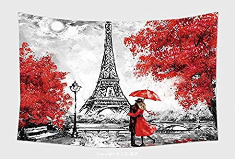 Home Decor Tapestry Wall Hanging Oil Painting Paris European City Landscape France Wallpaper Eiffel Tower Black White And Red 566913643 for Bedroom Living Room - Multi Persian Panel