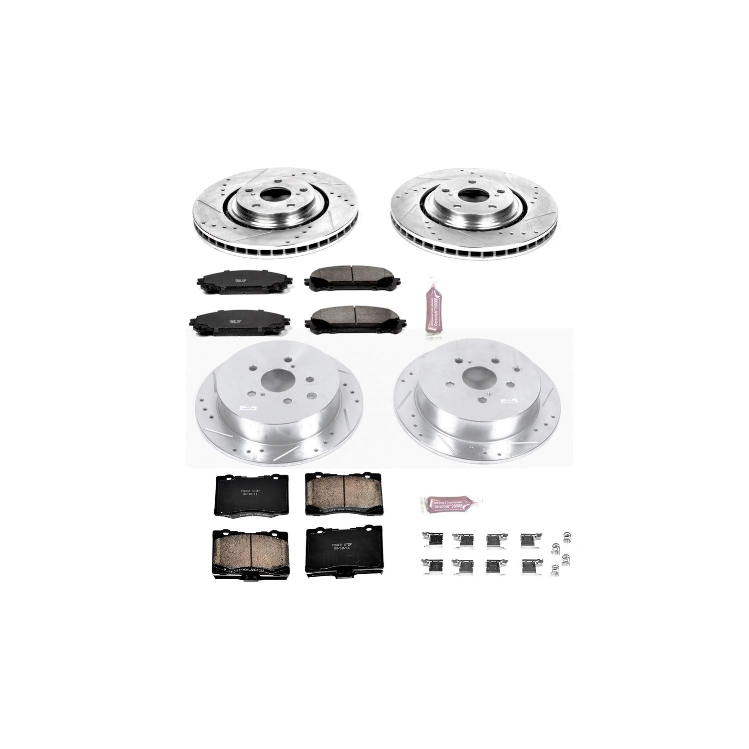 Power Stop K5828 Front & Rear Brake Kit with Drilled/Slotted Brake Rotors and Z23 Evolution Ceramic Brake Pads by POWERSTOP