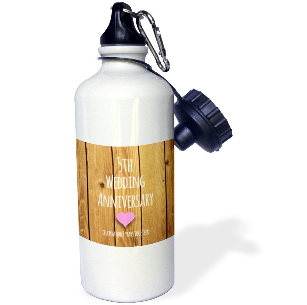 3dRose wb_154433_1 5Th Wedding Anniversary Gift-Wood Celebrating 5 Years Together-Fifth Anniversaries Five Yrs Sports Water Bottle, 21 oz, White