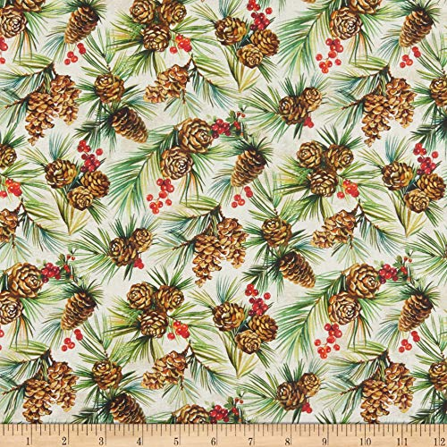Northcott Deck The Halls Pinecones Cream Fabric by The Yard