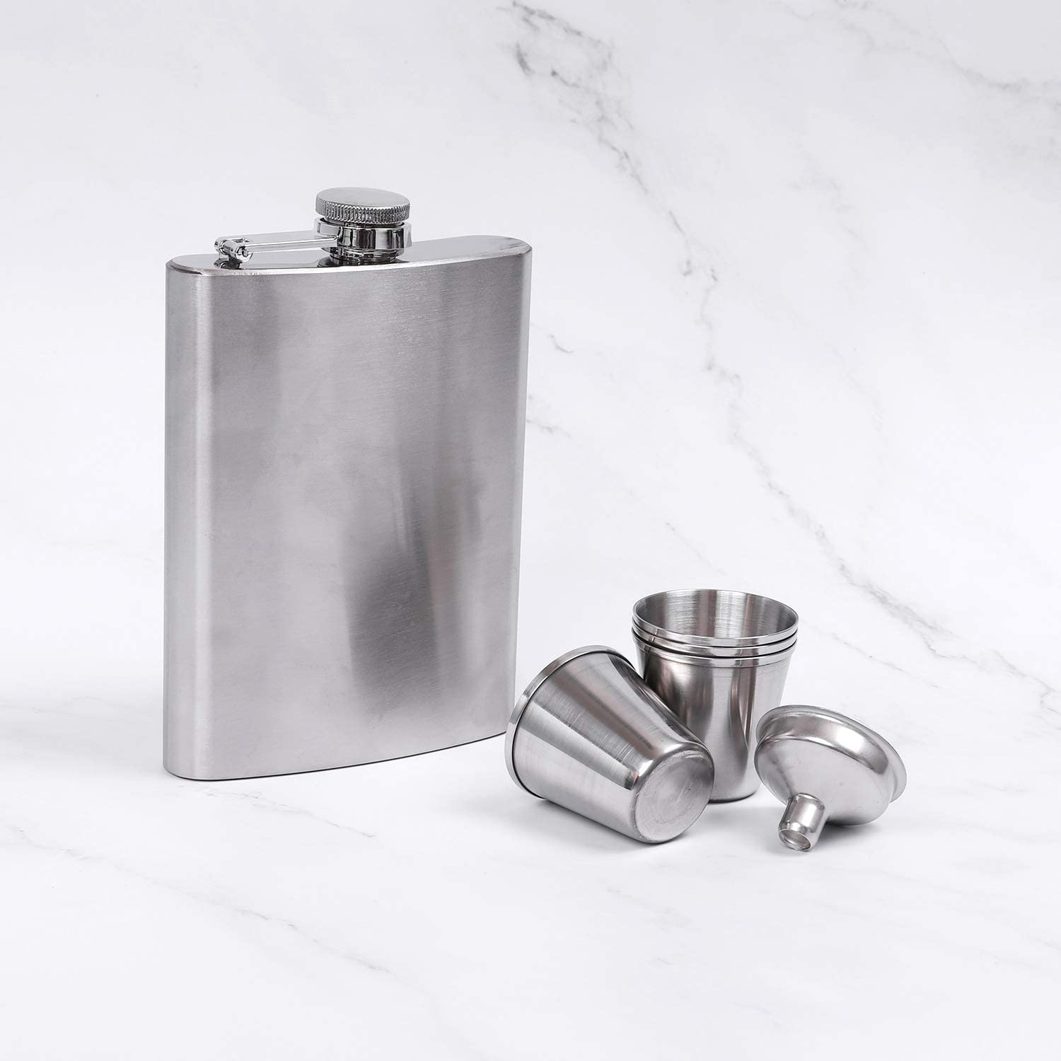 Elcoho 2 Pack 8 Ounce Hip Stainless Steel Flask Portable Pocket Hip Flask with 6 Pieces 1 Ounce Stainless Steel Shot Cups and 2 Pieces Handy Funnel Totally 10 Pieces