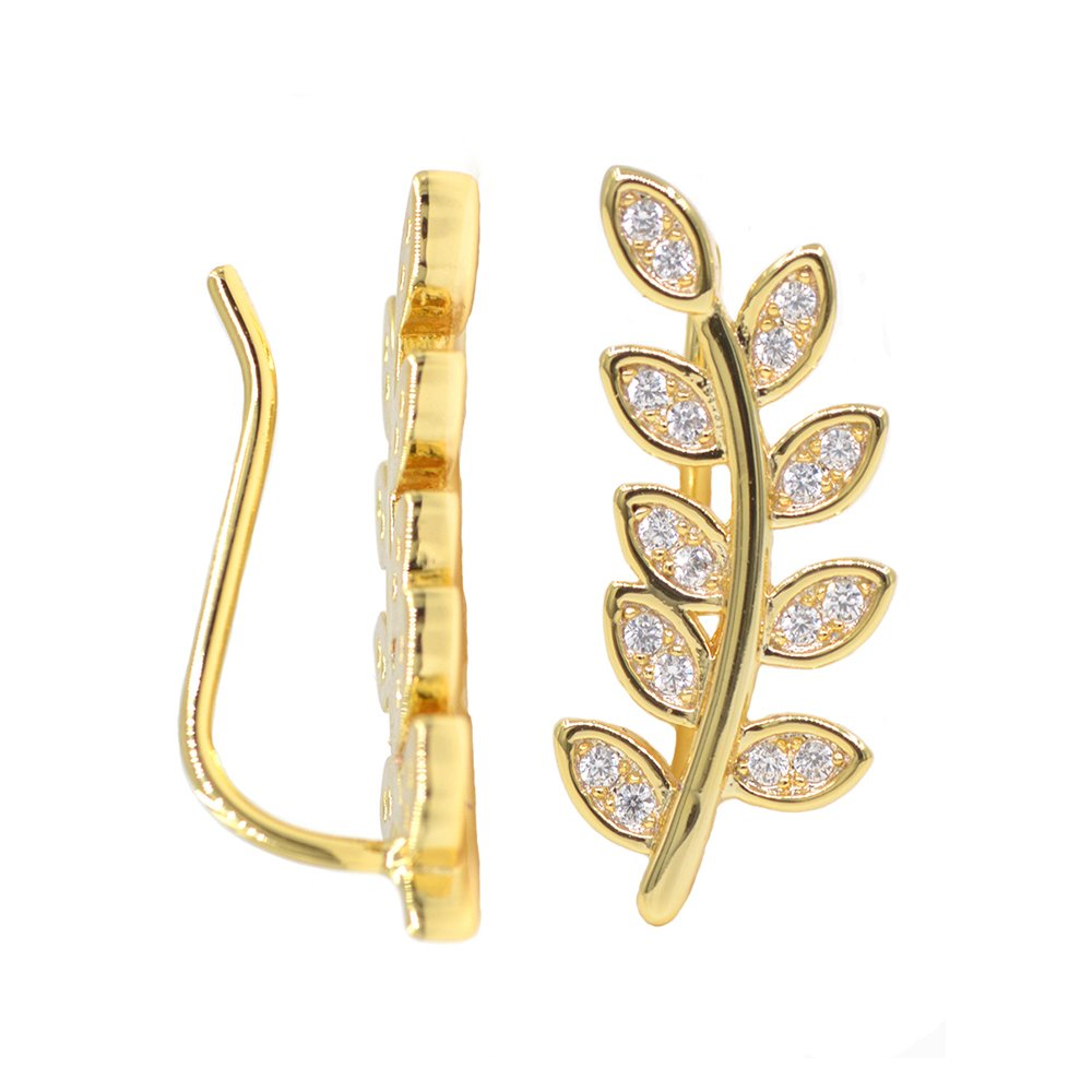 Leaf Ear Climbers Tiny Delicate Branch Stud Earrings Pin Wrap 14K Gold Plating