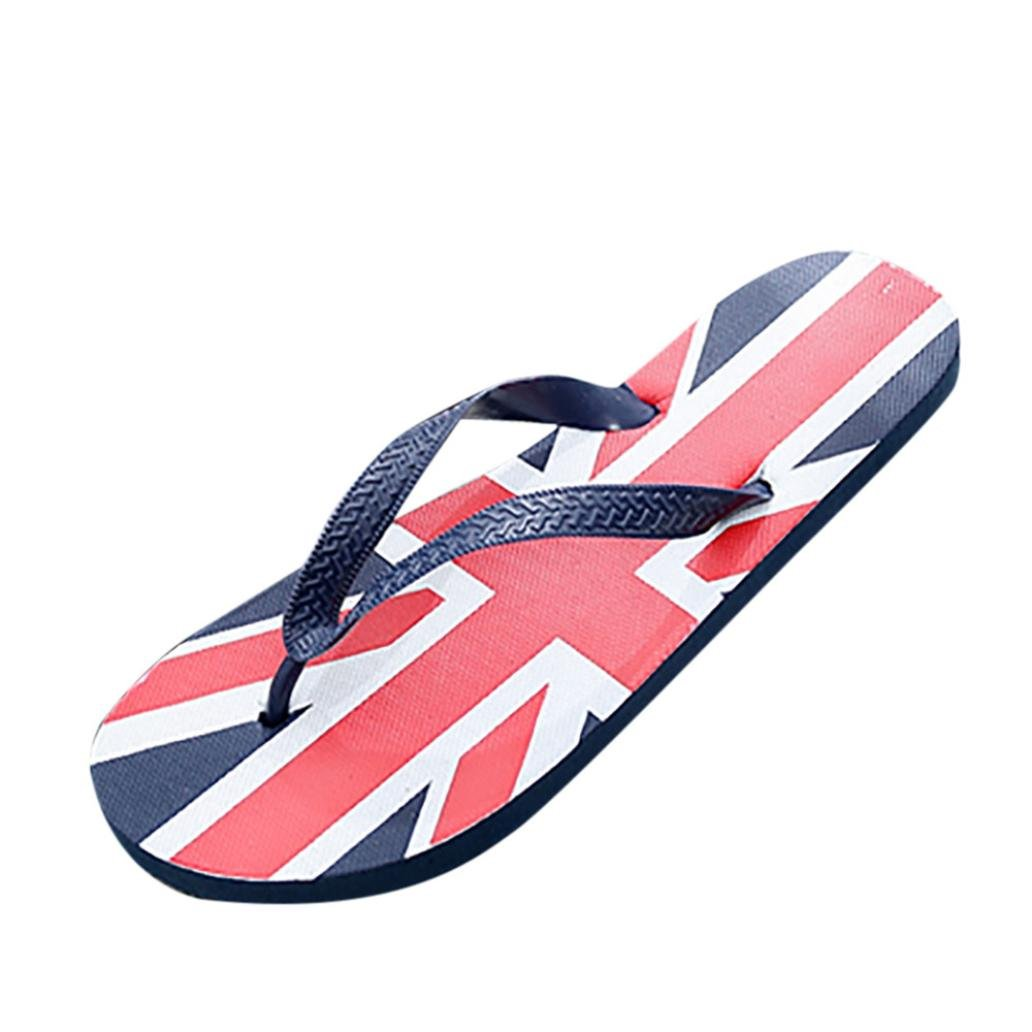 yjydadaメンズFlagアンチSkidding Flip Flopsスリッパサンダルビーチ靴Independence Day B07CZ71D3R  スカイブルー 40