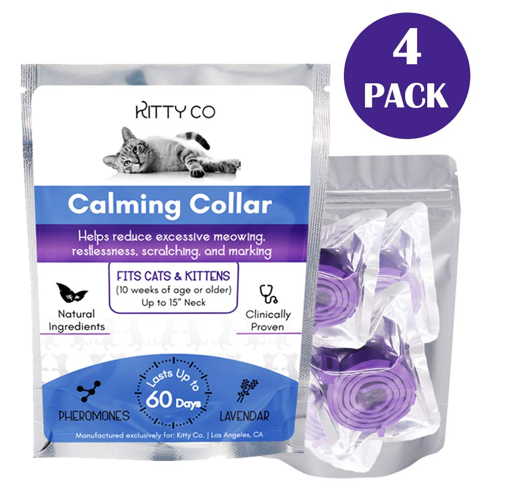Calming Collar for Cats | Cat Anxiety Relief with Pheromones | Cat Calming Products for Kittens | 4 Pack