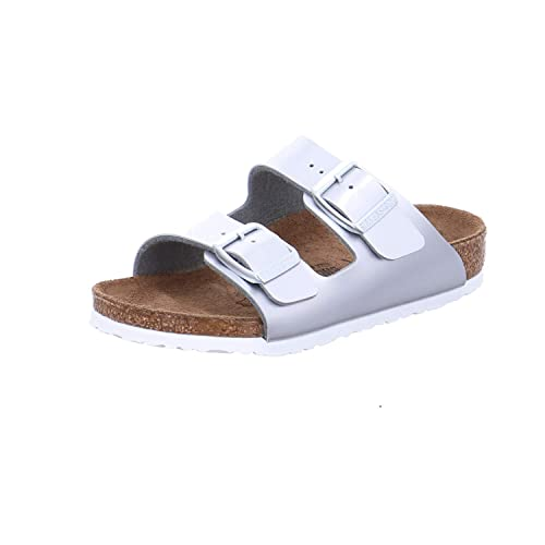03a0ac2ee3a Birkenstock Kids Arizona Metallic Silver Two Strap Sandal  Amazon.co.uk   Shoes   Bags