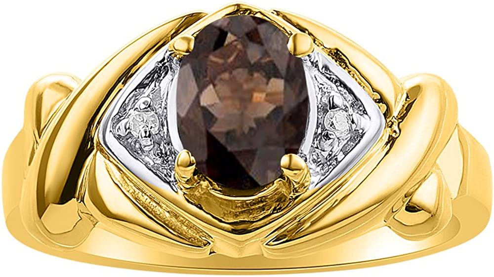 XO Hugs /& Kisses Diamond /& Smoky Quartz Ring Set In Yellow Gold Plated Silver Color Stone Birthstone Ring