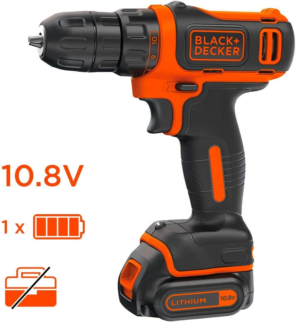 BLACK+DECKER BDCDD12-QW Perceuse-visseuse sans fil - Chargeur inclus, 10.8V, Sans coffret, 1 batterie