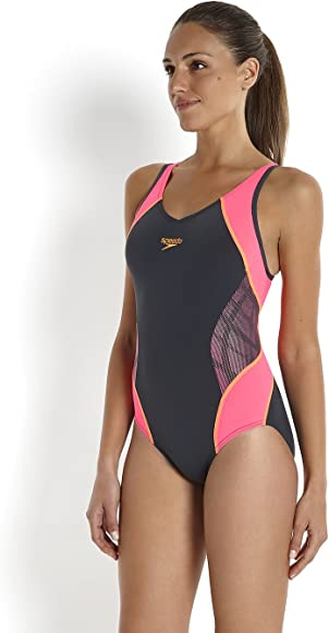 Women's Fit Splice Muscle Back Women's Fit Splice Muscle Back Swimsuit MagentaFluorescent PinkFluorescent Orange, Size 34